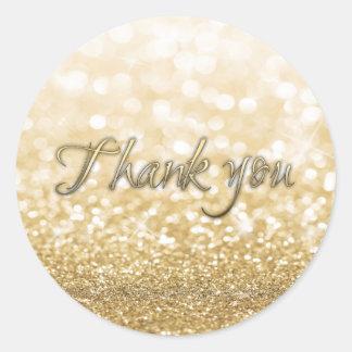 Adesivo Redondo Obrigado Glittery romântico glamoroso do ouro da