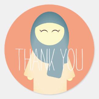Adesivo Redondo Obrigado islâmico você menina muçulmana da