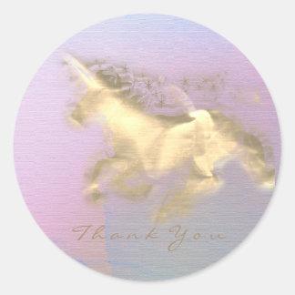 Adesivo Redondo Obrigado mágico das estrelas do ouro do unicórnio