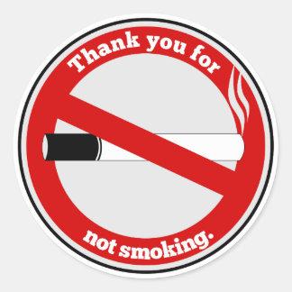 Adesivo Redondo Obrigado não fumando