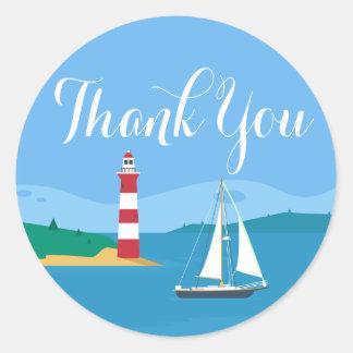 Adesivo Redondo Obrigado náutico você azul do farol & do veleiro