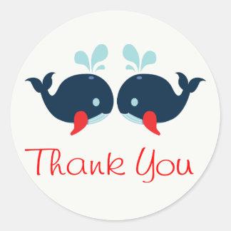 Adesivo Redondo Obrigado náutico você baleias dos azuis marinhos &