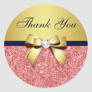 Adesivo Redondo Obrigado o arco coral dos diamantes do marinho do