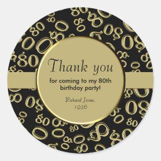 Adesivo Redondo Obrigado: Ouro e festa de aniversário preta do 80