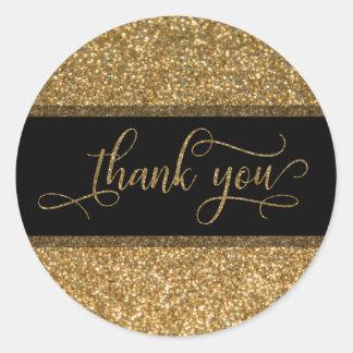 Adesivo Redondo Obrigado para script, a beira do brilho do ouro &