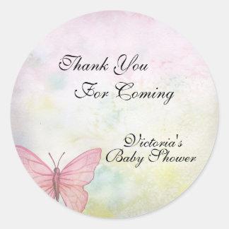 Adesivo Redondo Obrigado Pastel cor-de-rosa da borboleta você chá