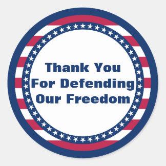 Adesivo Redondo Obrigado patriótico você para defender nossa
