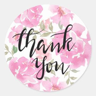 Adesivo Redondo Obrigado peônias escritas à mão do rosa da