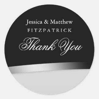 Adesivo Redondo Obrigado preto & branco elegante do casamento você