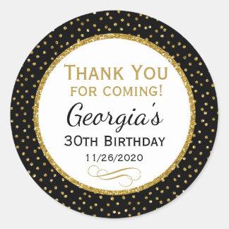 Adesivo Redondo Obrigado preto do ouro do aniversário você