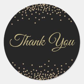 Adesivo Redondo Obrigado preto dos confetes do brilho do ouro você