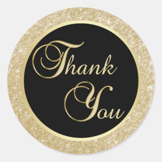 Adesivo Redondo Obrigado preto elegante do ouro você selos do