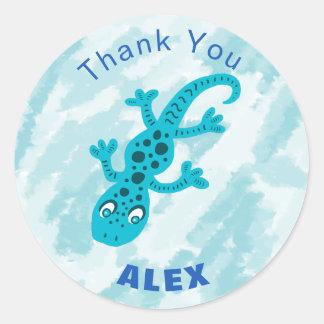 Adesivo Redondo Obrigado que azul bonito do lagarto do geco você