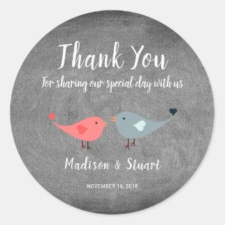 Adesivo Redondo Obrigado que do casamento do quadro dos pássaros