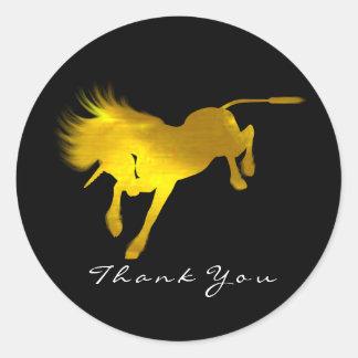 Adesivo Redondo Obrigado que dourado das estrelas do cavalo do