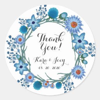 Adesivo Redondo Obrigado que floral azul do casamento da grinalda
