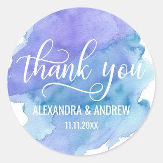 Adesivo Redondo Obrigado roxo azul do casamento da aguarela você