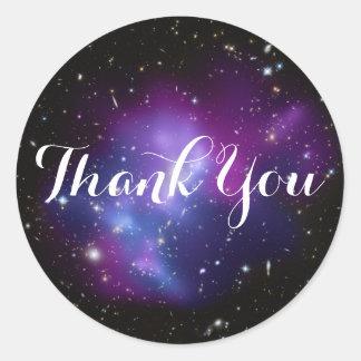 Adesivo Redondo Obrigado roxo do conjunto da galáxia você