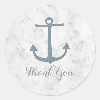 Adesivo Redondo Obrigado rústico azul do casamento da âncora você