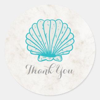 Adesivo Redondo Obrigado rústico do casamento do Seashell de