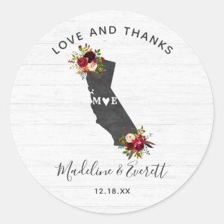 Adesivo Redondo Obrigado rústico floral do casamento do estado de