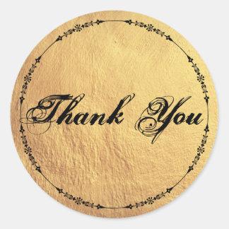 Adesivo Redondo Obrigado Textured ouro inspirado antiguidade você