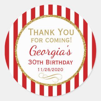 Adesivo Redondo Obrigado vermelho do aniversário do ouro você para