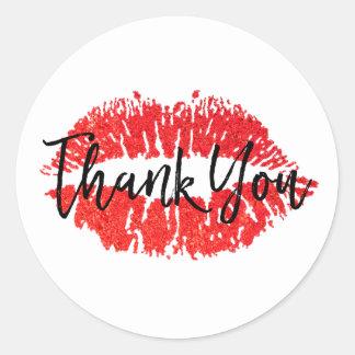 Adesivo Redondo Obrigado vermelho do beijo dos lábios você