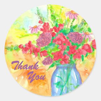 Adesivo Redondo Obrigado vermelho do buquê da flor você