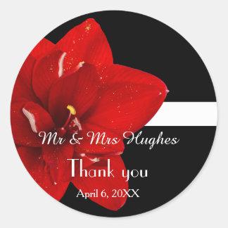 Adesivo Redondo Obrigado vermelho do casamento do Amaryllis você