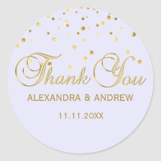 Adesivo Redondo Obrigado violeta do casamento do ouro da lavanda