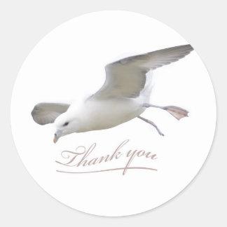Adesivo Redondo Obrigado voa a gaivota