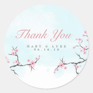 Adesivo Redondo Obrigado Wedding você flores de cerejeira da