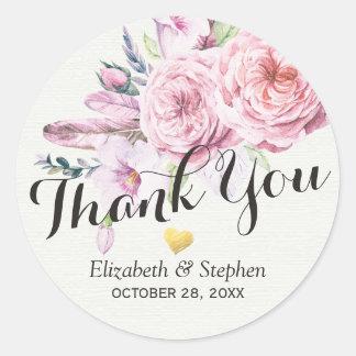 Adesivo Redondo Obrigado Wedding você pena floral de Boho da