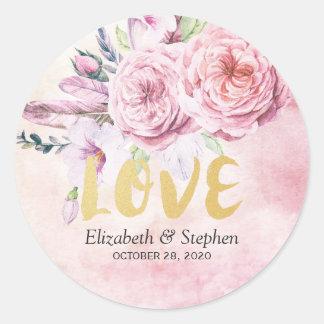 Adesivo Redondo Obrigado Wedding você penas florais da aguarela de