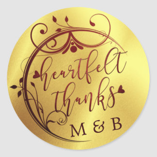Adesivo Redondo Obrigados sentido elegantes, Marsala e ouro