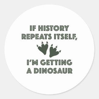 Adesivo Redondo Obtendo um dinossauro