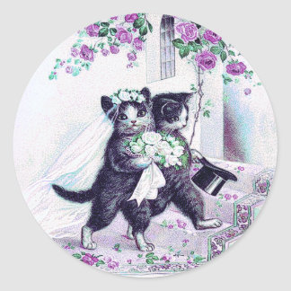 Adesivo Redondo Ocasião especial roxa dos gatos do casamento
