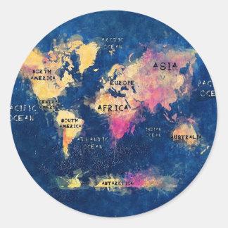 Adesivo Redondo OCEANOS e continentes do mapa do mundo
