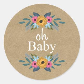 Adesivo Redondo Oh bebê! Chá de fraldas floral rústico da grinalda