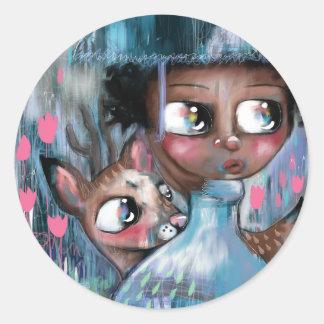 Adesivo Redondo Oh! Cervos que está chovendo