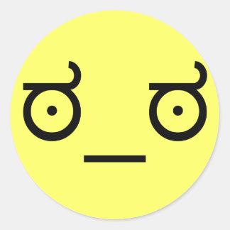 Adesivo Redondo olhar do ಠ_ಠ da cara engraçada da arte do texto da