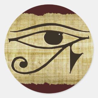 Adesivo Redondo OLHO de WADJET DE HORUS em presentes do papiro