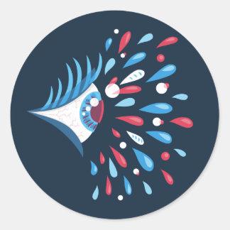 Adesivo Redondo Olho psicadélico dos rasgos coloridos escuros