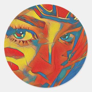 Adesivo Redondo Olhos artísticos contemporâneos raros legal