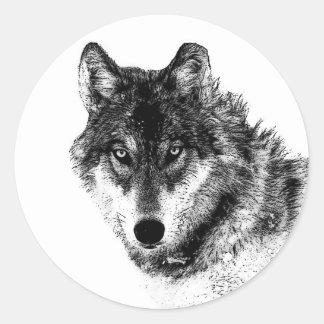 Adesivo Redondo Olhos inspirados brancos pretos do lobo