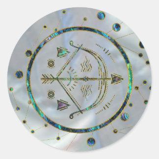 Adesivo Redondo Olmo do ouro do zodíaco do Sagitário na