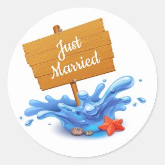 Adesivo Redondo Onda náutica do casamento dos azuis marinhos da