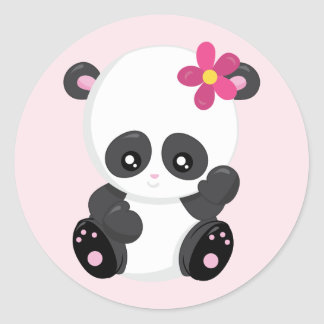 Adesivo Redondo Ondulação bonito do urso de panda