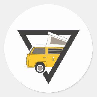 Adesivo Redondo ônibus amarelo clássico do triângulo